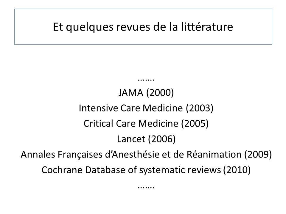 ……. JAMA (2000) Intensive Care Medicine (2003) Critical Care Medicine (2005) Lancet (2006) Annales Françaises dAnesthésie et de Réanimation (2009) Coc