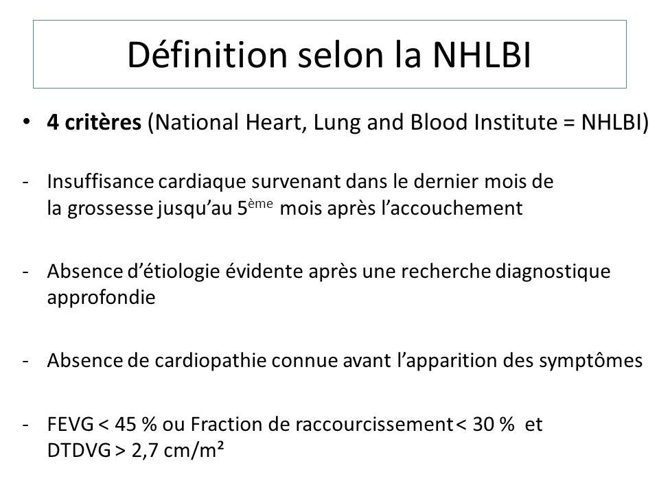 Définition selon la NHLBI 4 critères (National Heart, Lung and Blood Institute = NHLBI) -Insuffisance cardiaque survenant dans le dernier mois de la g