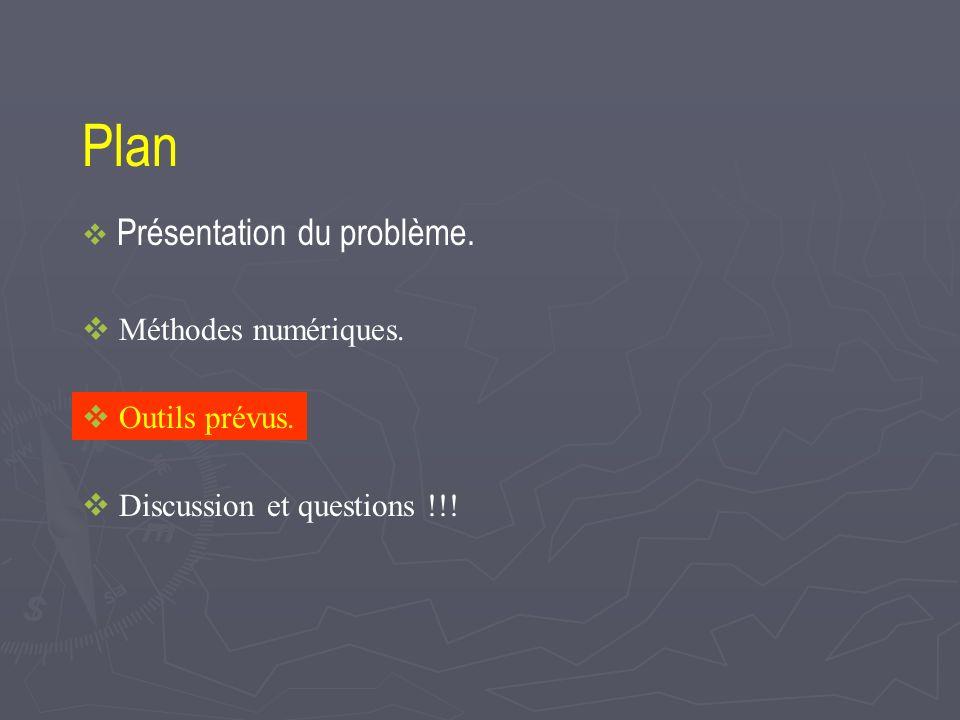 Plan Présentation du problème. Méthodes numériques. Outils prévus. Discussion et questions !!!