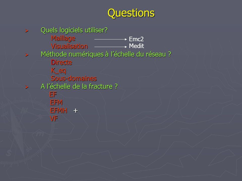 Questions Quels logiciels utiliser? Quels logiciels utiliser?MaillageVisualisation Méthode numériques à léchelle du réseau ? Méthode numériques à léch