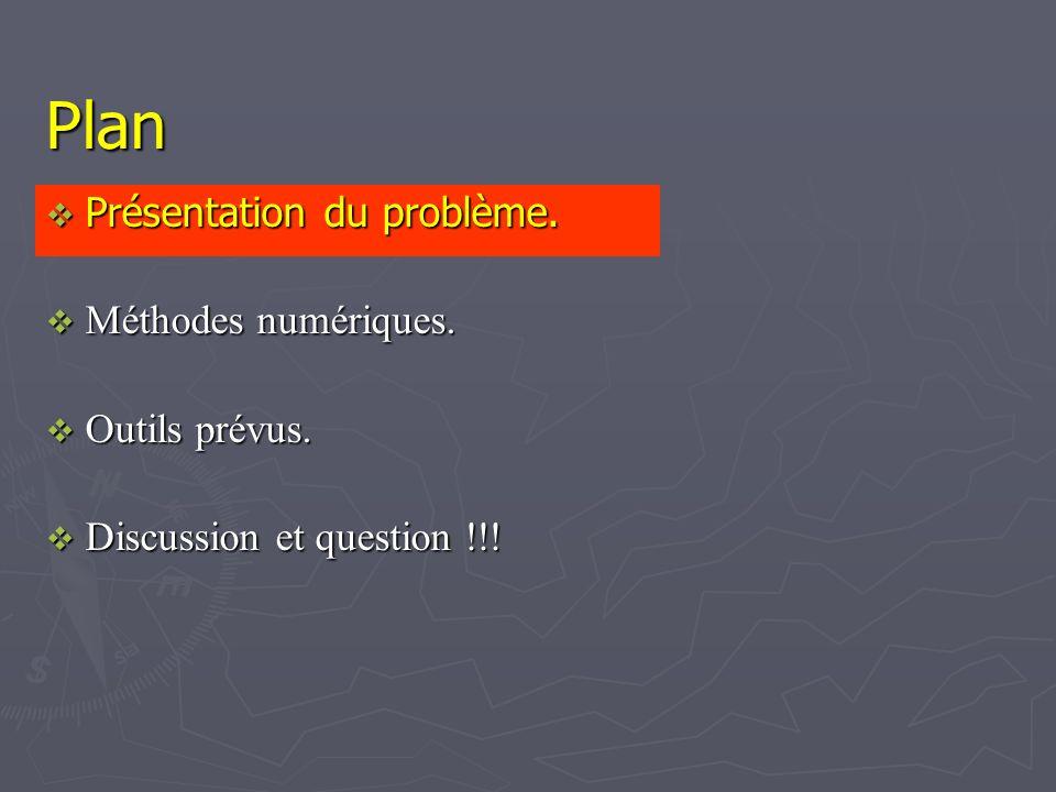 Plan Présentation du problème. Présentation du problème. Méthodes numériques. Méthodes numériques. Outils prévus. Outils prévus. Discussion et questio