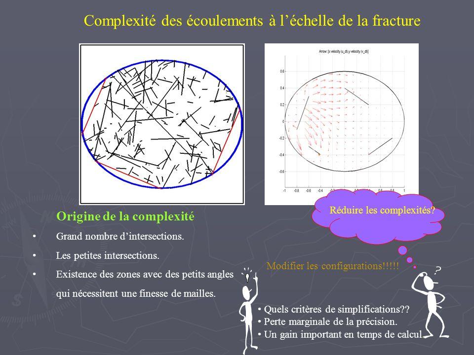 Complexité des écoulements à léchelle de la fracture Origine de la complexité Grand nombre dintersections. Les petites intersections. Existence des zo