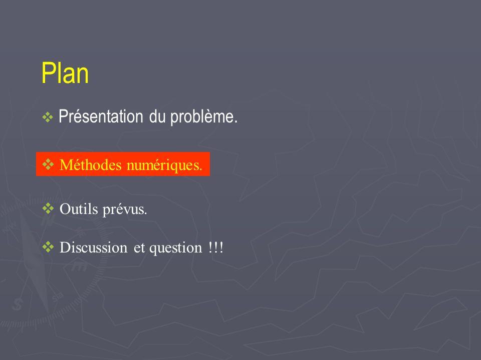 Plan Présentation du problème. Méthodes numériques. Outils prévus. Discussion et question !!!