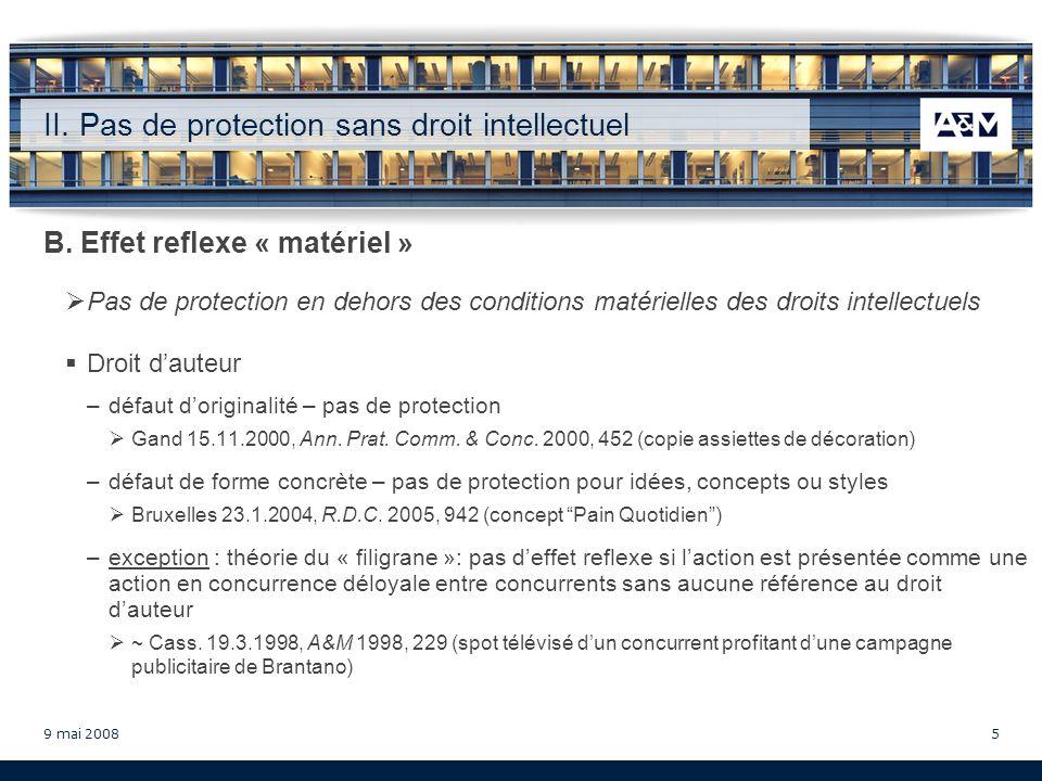 9 mai 200816 Doctrine Puttemans, A., Droits intellectuels et concurrence déloyale, Bruylant, Brussel, 2000 Dessard, D., Laction en cessation et les droits de propriété intellectuelle, in: Gillardin, J.