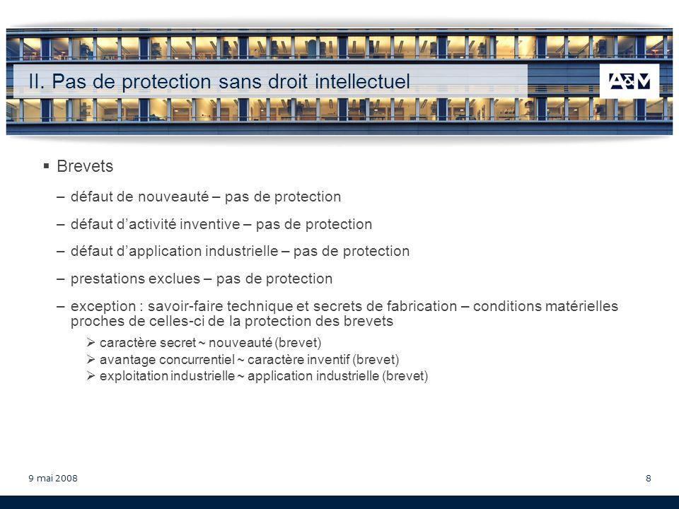 9 mai 20089 II.Pas de protection sans droit intellectuel C.