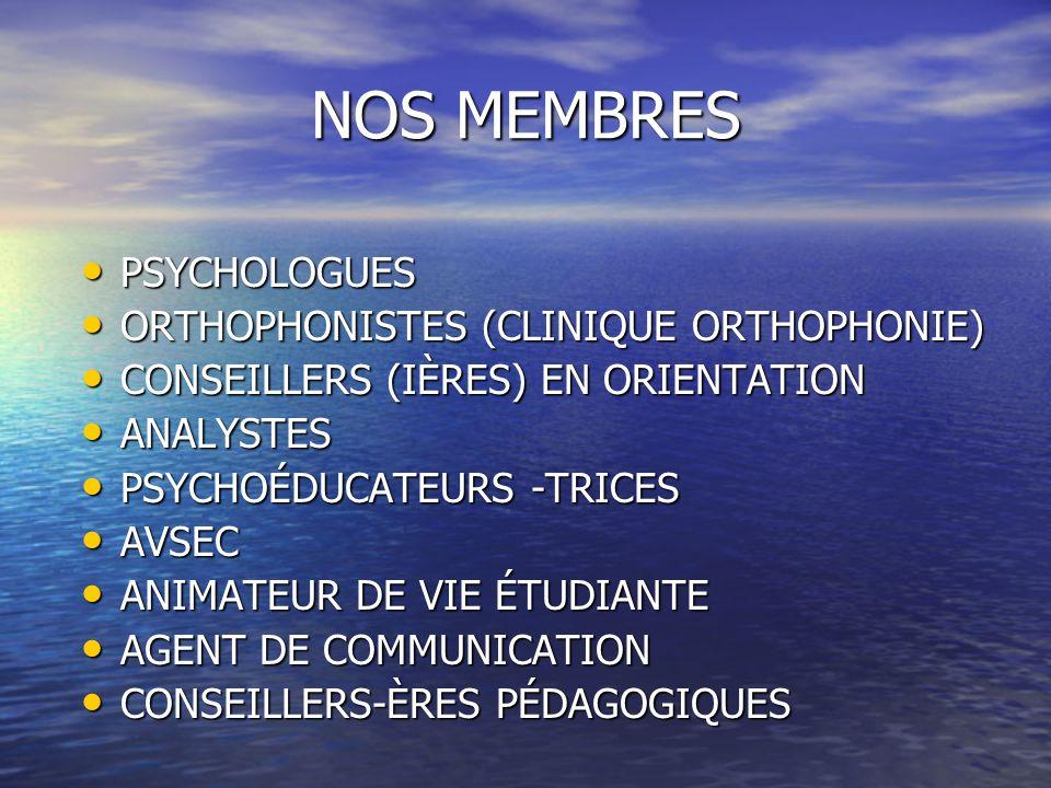 NOS MEMBRES PSYCHOLOGUES PSYCHOLOGUES ORTHOPHONISTES (CLINIQUE ORTHOPHONIE) ORTHOPHONISTES (CLINIQUE ORTHOPHONIE) CONSEILLERS (IÈRES) EN ORIENTATION C