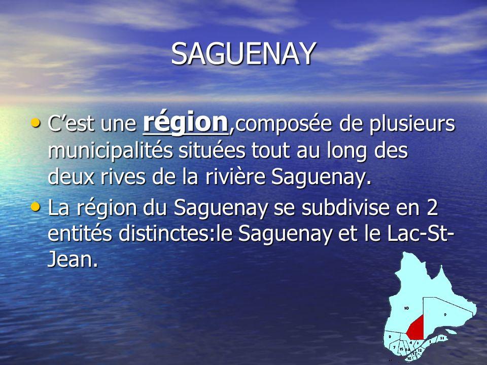 SAGUENAY Cest une région,composée de plusieurs municipalités situées tout au long des deux rives de la rivière Saguenay. Cest une région,composée de p