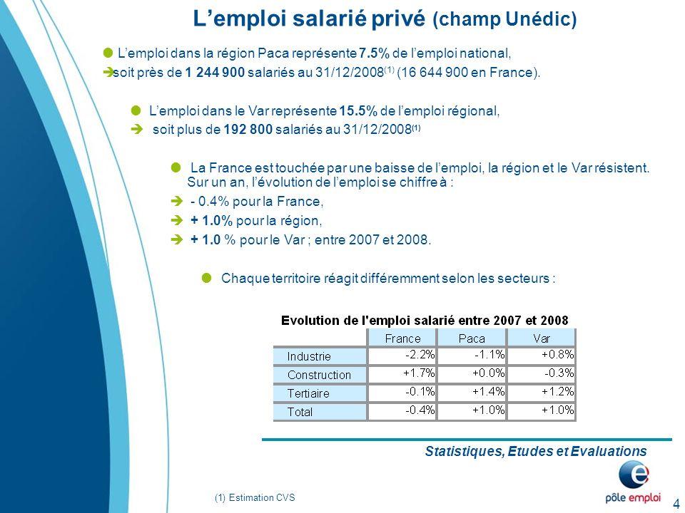 4 Lemploi salarié privé (champ Unédic) Statistiques, Etudes et Evaluations Lemploi dans la région Paca représente 7.5% de lemploi national, soit près de 1 244 900 salariés au 31/12/2008 (1) (16 644 900 en France).