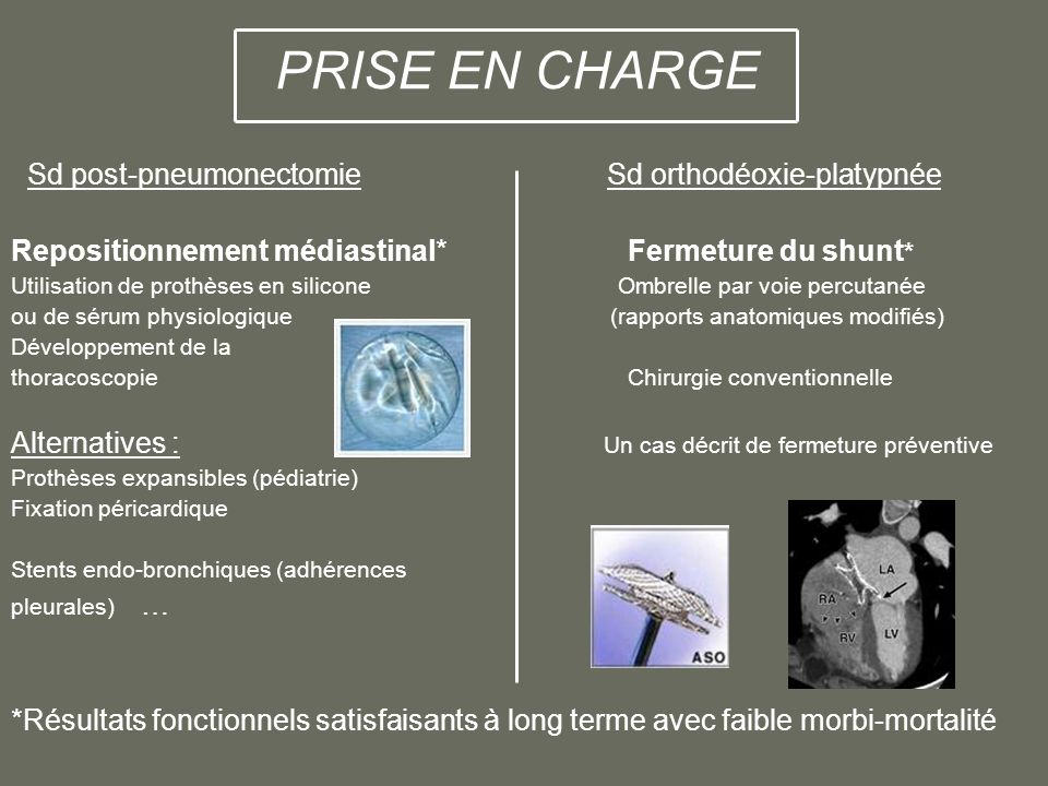 PRISE EN CHARGE Sd post-pneumonectomie Sd orthodéoxie-platypnée Repositionnement médiastinal* Fermeture du shunt * Utilisation de prothèses en silicon