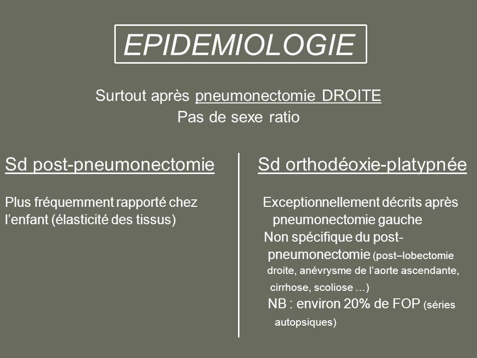 EPIDEMIOLOGIE Surtout après pneumonectomie DROITE Pas de sexe ratio Sd post-pneumonectomie Sd orthodéoxie-platypnée Plus fréquemment rapporté chez Exceptionnellement décrits après lenfant (élasticité des tissus) pneumonectomie gauche Non spécifique du post- pneumonectomie (post–lobectomie droite, anévrysme de laorte ascendante, cirrhose, scoliose …) NB : environ 20% de FOP (séries autopsiques)