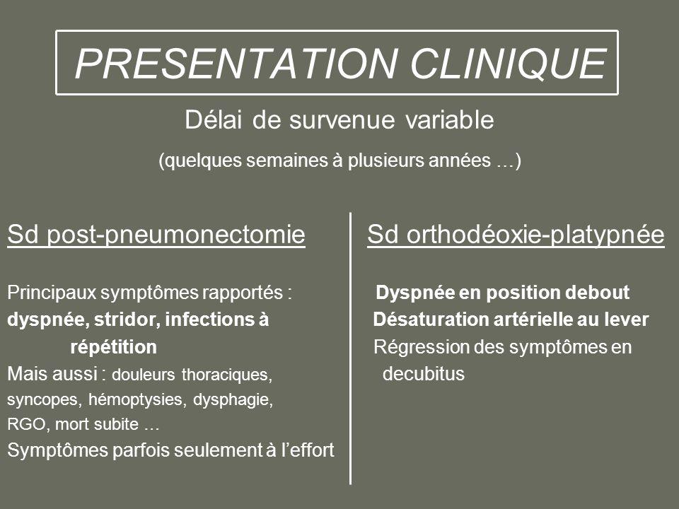 PRESENTATION CLINIQUE Délai de survenue variable (quelques semaines à plusieurs années …) Sd post-pneumonectomie Sd orthodéoxie-platypnée Principaux s