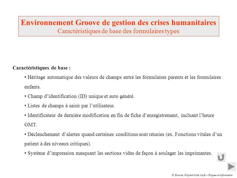 D. Bounie, Polytech'Lille, IAAL – Risques et information Caractéristiques de base : Héritage automatique des valeurs de champs entre les formulaires p