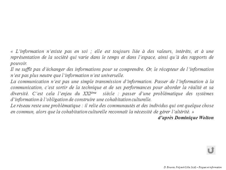 D. Bounie, Polytech'Lille, IAAL – Risques et information « Linformation nexiste pas en soi ; elle est toujours liée à des valeurs, intérêts, et à une