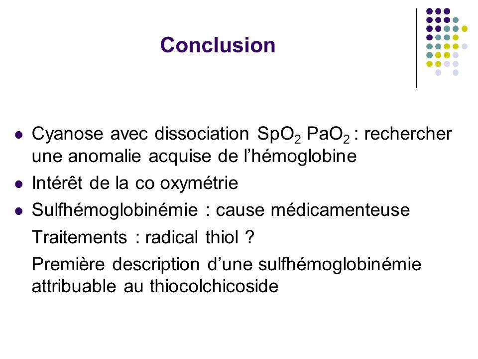 Conclusion Cyanose avec dissociation SpO 2 PaO 2 : rechercher une anomalie acquise de lhémoglobine Intérêt de la co oxymétrie Sulfhémoglobinémie : cau