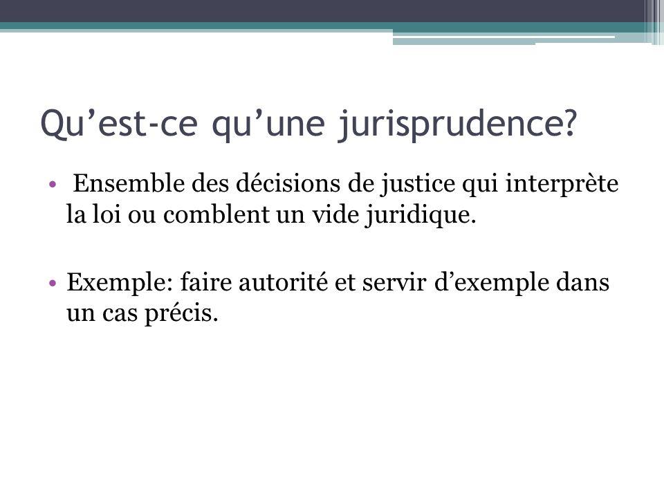 Quest-ce quune jurisprudence? Ensemble des décisions de justice qui interprète la loi ou comblent un vide juridique. Exemple: faire autorité et servir