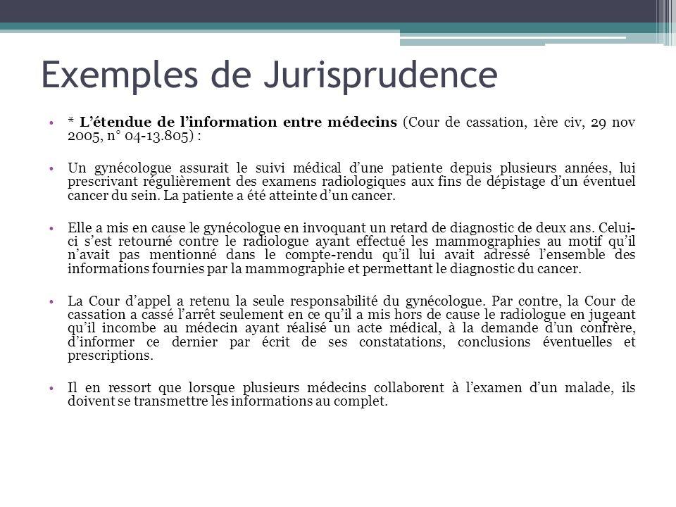 Exemples de Jurisprudence * Létendue de linformation entre médecins (Cour de cassation, 1ère civ, 29 nov 2005, n° 04-13.805) : Un gynécologue assurait