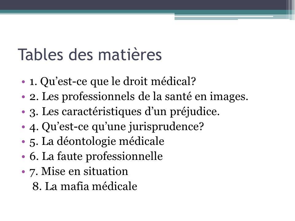 Tables des matières 1. Quest-ce que le droit médical? 2. Les professionnels de la santé en images. 3. Les caractéristiques dun préjudice. 4. Quest-ce