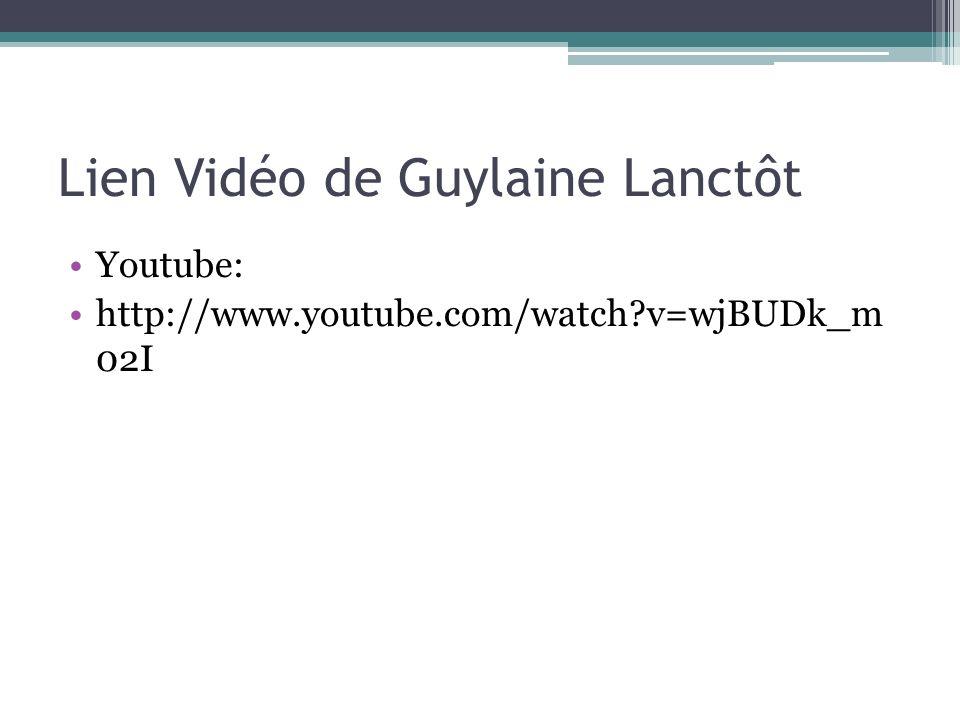 Lien Vidéo de Guylaine Lanctôt Youtube: http://www.youtube.com/watch?v=wjBUDk_m 02I