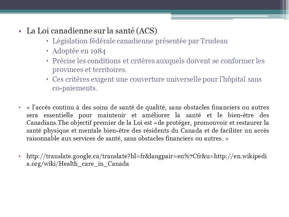 La Loi canadienne sur la santé (ACS) Législation fédérale canadienne présentée par Trudeau Adoptée en 1984 Précise les conditions et critères auxquels