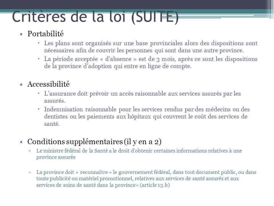 Critères de la loi (SUITE) Portabilité Les plans sont organisés sur une base provinciales alors des dispositions sont nécessaires afin de couvrir les