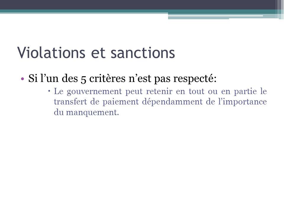 Violations et sanctions Si lun des 5 critères nest pas respecté: Le gouvernement peut retenir en tout ou en partie le transfert de paiement dépendamme