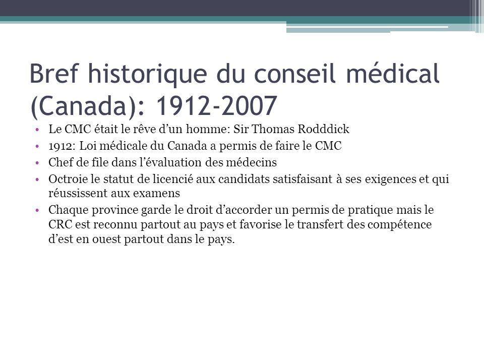 Bref historique du conseil médical (Canada): 1912-2007 Le CMC était le rêve dun homme: Sir Thomas Rodddick 1912: Loi médicale du Canada a permis de fa