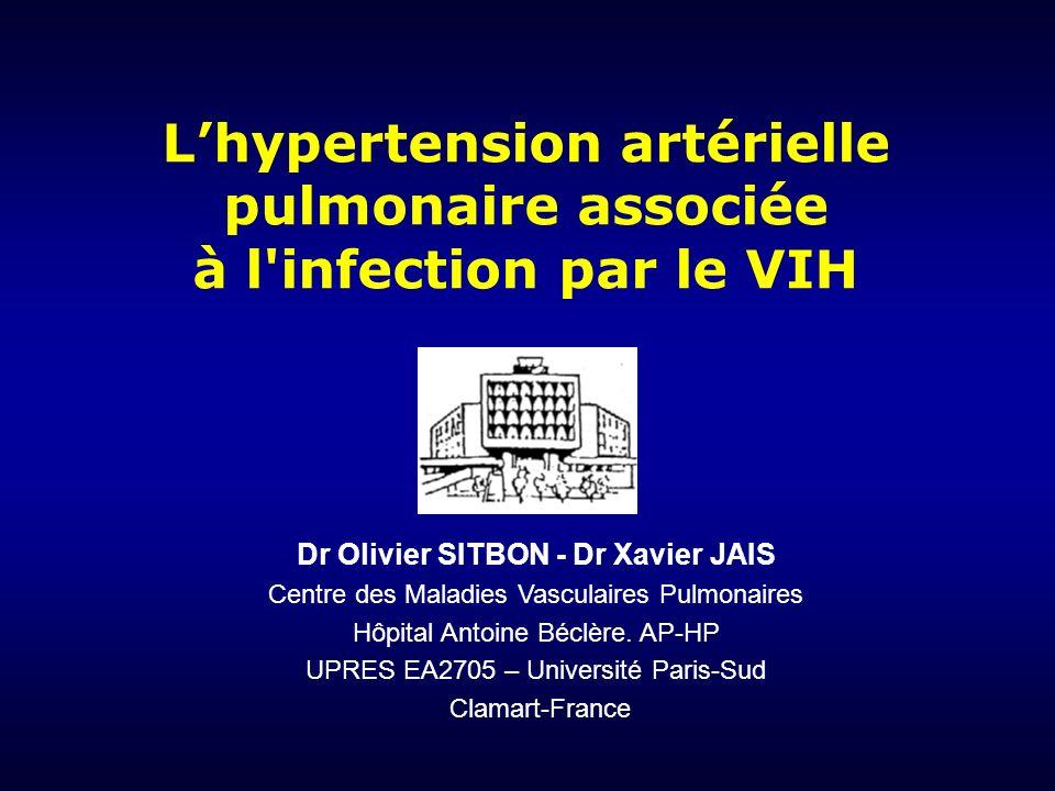 HTP des maladies respiratoires BPCO Pneumopathies interstitielles chroniques Apnées du sommeil Anomalies du développement respiratoire HTP thromboembolique chronique HTP-TEC avec obstruction proximale HTP-TEC avec obstruction distale HTP-TEC non cruorique HTP diverses Hypertension Artérielle Pulmonaire HTAP idiopathique HTAP familiale HTAP associée à: – Connectivites – Infection VIH – Hypertension portale – Anorexigènes – Cardiopathies congénitales HTAP persistante du nouveau-né HTAP avec atteinte veineuse (MVO) HTP des maladies cardiaques Auriculaires ou ventriculaires Valvulaires Classification Diagnostique des Hypertensions Pulmonaires (Simonneau et al.