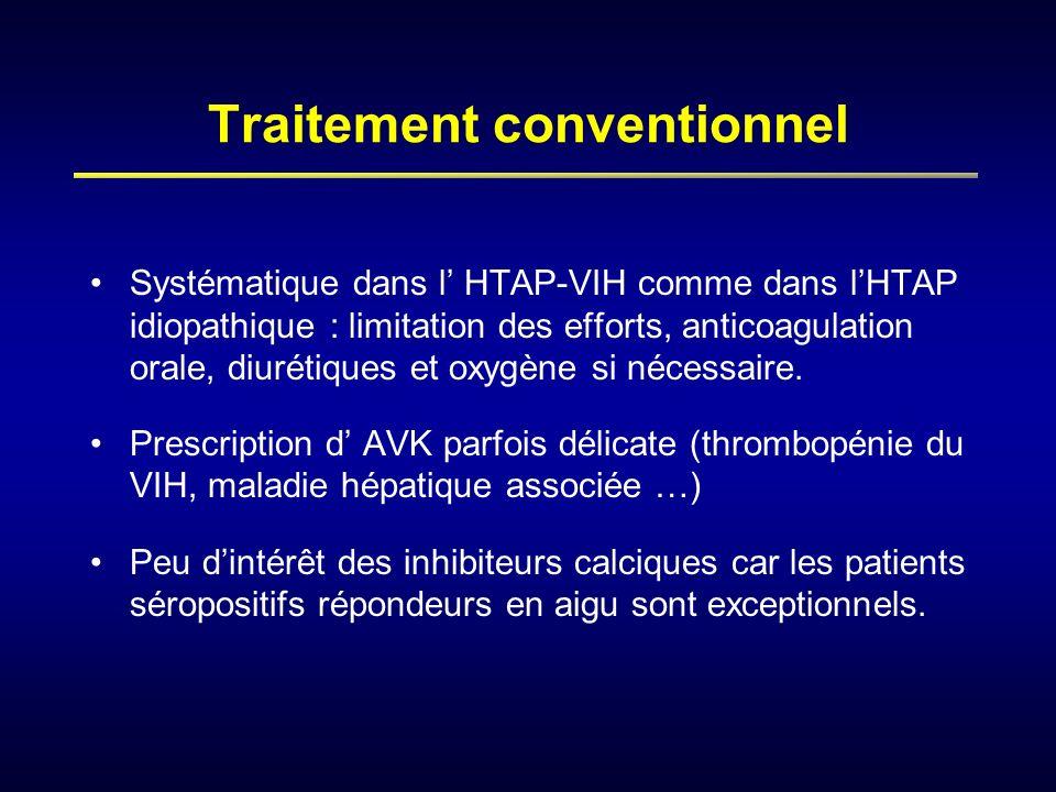Traitement conventionnel Systématique dans l HTAP-VIH comme dans lHTAP idiopathique : limitation des efforts, anticoagulation orale, diurétiques et ox