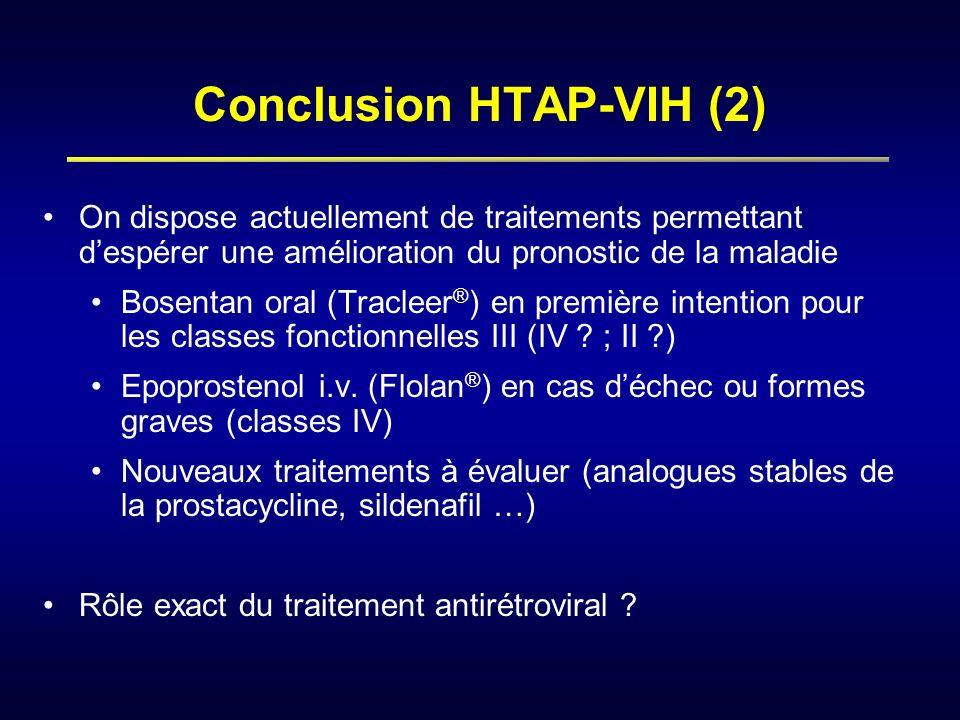 Conclusion HTAP-VIH (2) On dispose actuellement de traitements permettant despérer une amélioration du pronostic de la maladie Bosentan oral (Tracleer