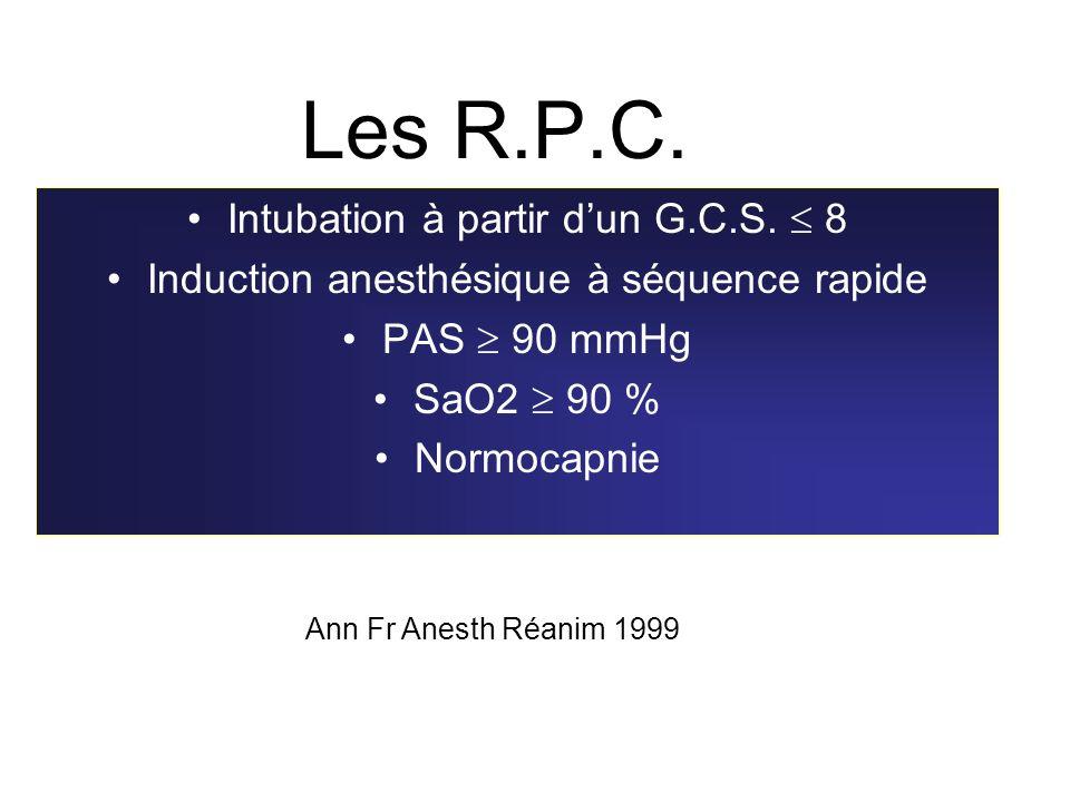 Les R.P.C. Intubation à partir dun G.C.S. 8 Induction anesthésique à séquence rapide PAS 90 mmHg SaO2 90 % Normocapnie Ann Fr Anesth Réanim 1999