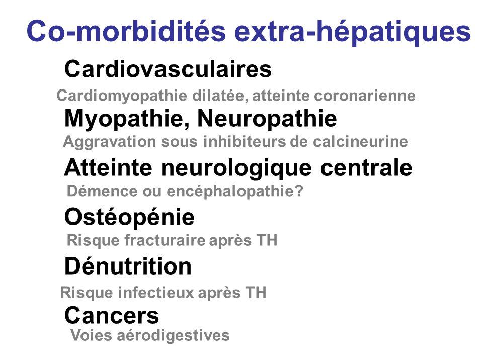 Co-morbidités extra-hépatiques Cardiovasculaires Myopathie, Neuropathie Atteinte neurologique centrale Ostéopénie Dénutrition Cancers Cardiomyopathie dilatée, atteinte coronarienne Aggravation sous inhibiteurs de calcineurine Démence ou encéphalopathie.
