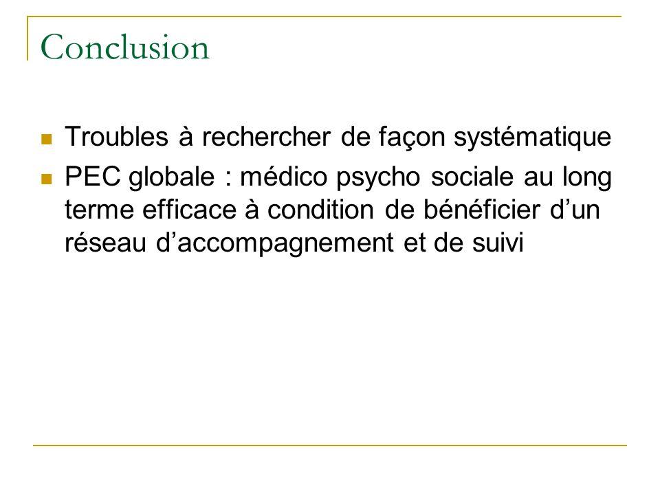 Conclusion Troubles à rechercher de façon systématique PEC globale : médico psycho sociale au long terme efficace à condition de bénéficier dun réseau