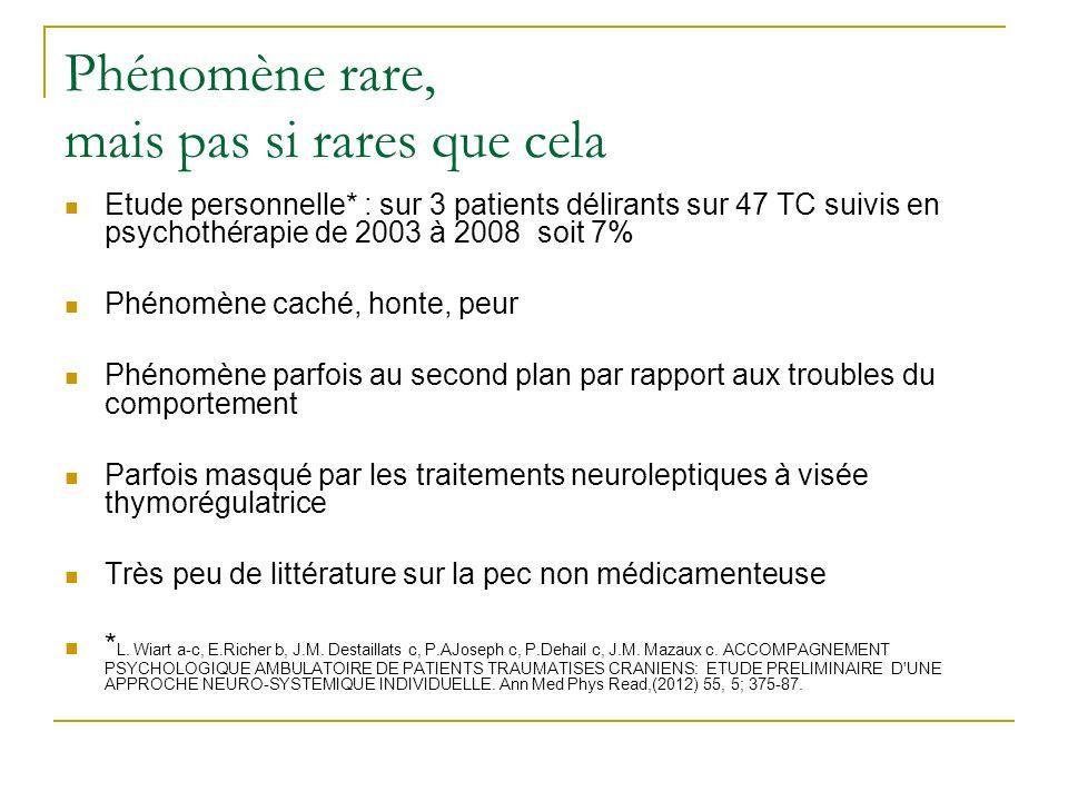 Phénomène rare, mais pas si rares que cela Etude personnelle* : sur 3 patients délirants sur 47 TC suivis en psychothérapie de 2003 à 2008 soit 7% Phé