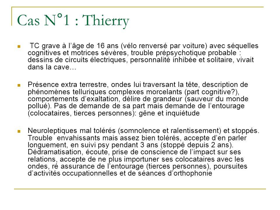Cas N°1 : Thierry TC grave à lâge de 16 ans (vélo renversé par voiture) avec séquelles cognitives et motrices sévères, trouble prépsychotique probable