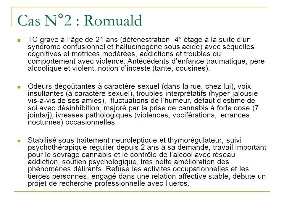 Cas N°2 : Romuald TC grave à lâge de 21 ans (défenestration 4° étage à la suite dun syndrome confusionnel et hallucinogène sous acide) avec séquelles