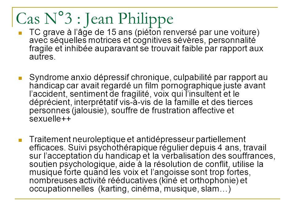 Cas N°3 : Jean Philippe TC grave à lâge de 15 ans (piéton renversé par une voiture) avec séquelles motrices et cognitives sévères, personnalité fragil