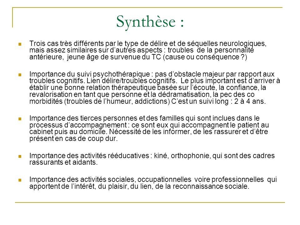 Synthèse : Trois cas très différents par le type de délire et de séquelles neurologiques, mais assez similaires sur dautres aspects : troubles de la p