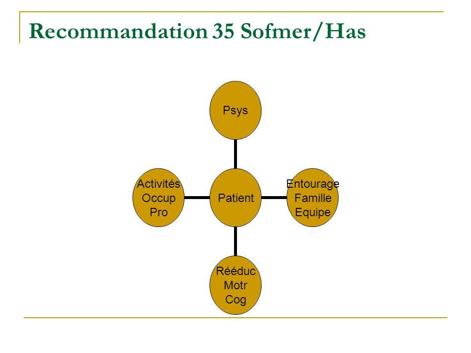 Recommandation 35 Sofmer/Has Patient Psys Entourage Famille Equipe Rééduc Motr Cog Activités Occup Pro