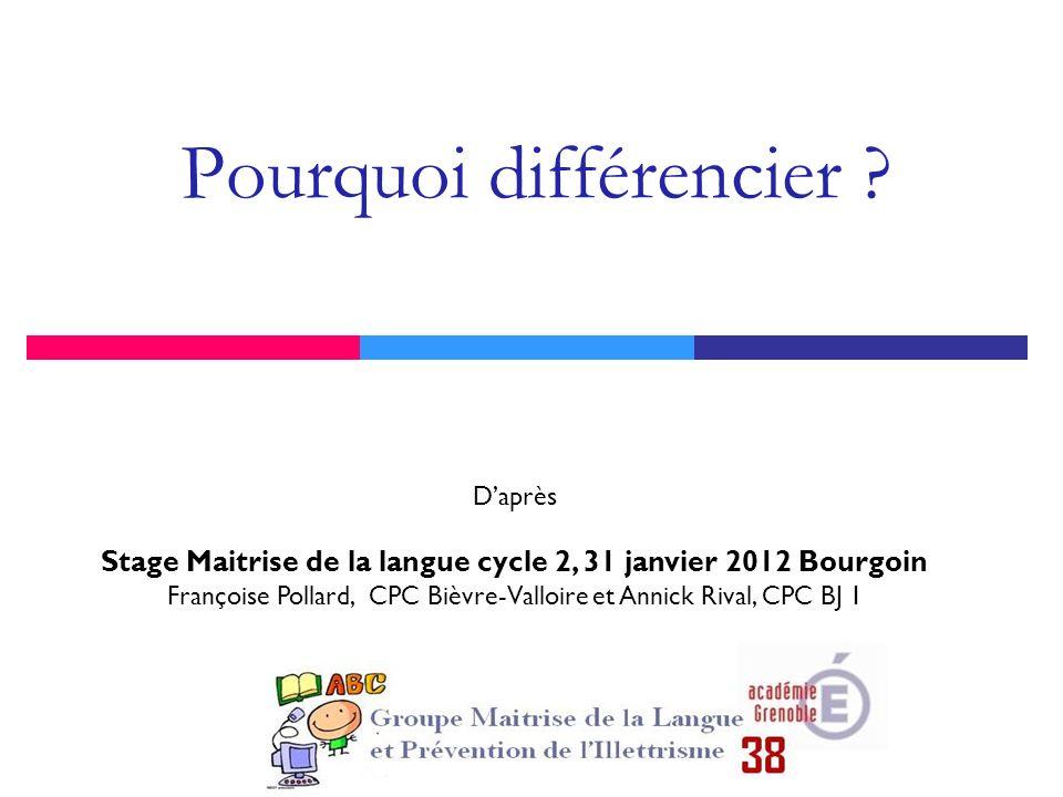 Pourquoi différencier ? Daprès Stage Maitrise de la langue cycle 2, 31 janvier 2012 Bourgoin Françoise Pollard, CPC Bièvre-Valloire et Annick Rival, C