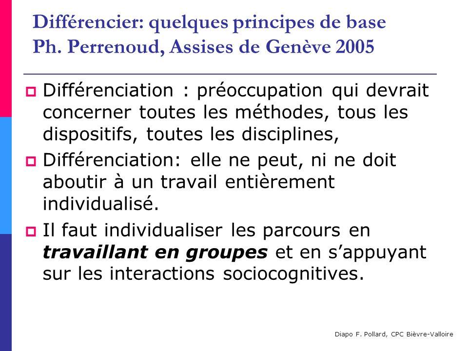 Différencier: quelques principes de base Ph. Perrenoud, Assises de Genève 2005 Différenciation : préoccupation qui devrait concerner toutes les méthod