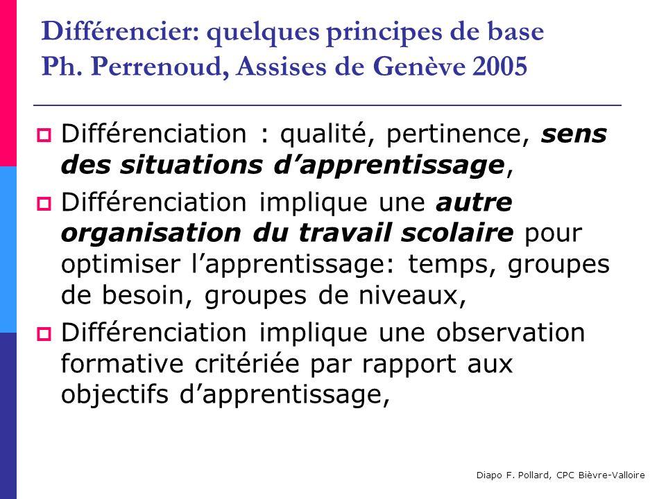 Différencier: quelques principes de base Ph. Perrenoud, Assises de Genève 2005 Différenciation : qualité, pertinence, sens des situations dapprentissa