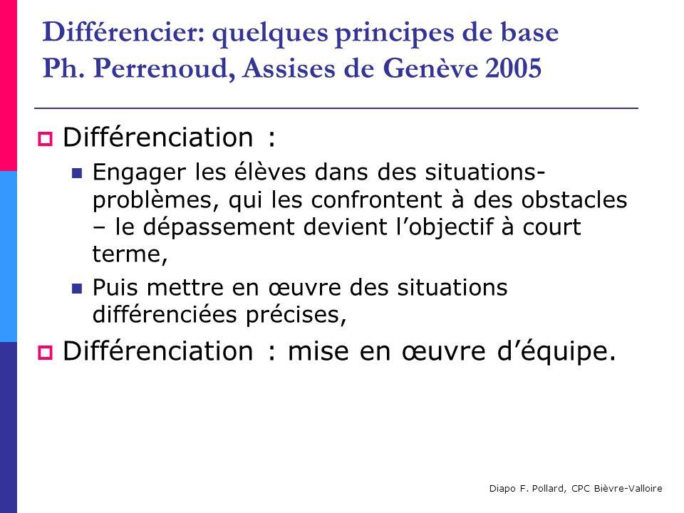 Différencier: quelques principes de base Ph. Perrenoud, Assises de Genève 2005 Différenciation : Engager les élèves dans des situations- problèmes, qu