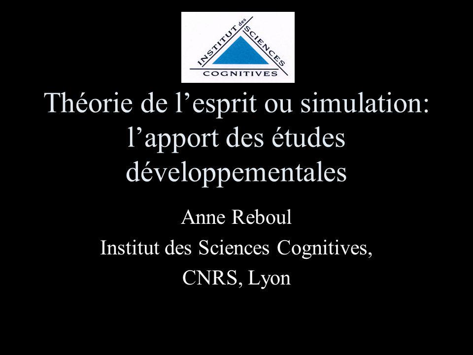 Théorie de lesprit ou simulation: lapport des études développementales Anne Reboul Institut des Sciences Cognitives, CNRS, Lyon