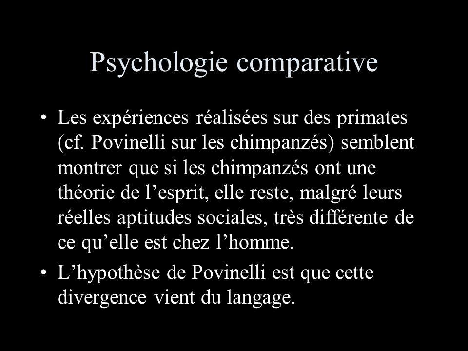 Psychologie comparative Les expériences réalisées sur des primates (cf.