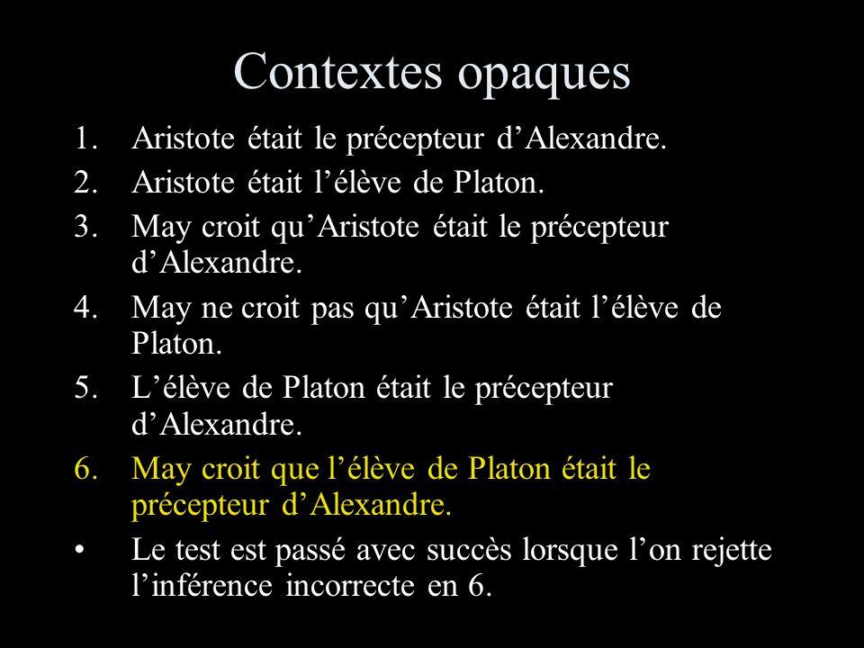 Contextes opaques 1.Aristote était le précepteur dAlexandre.