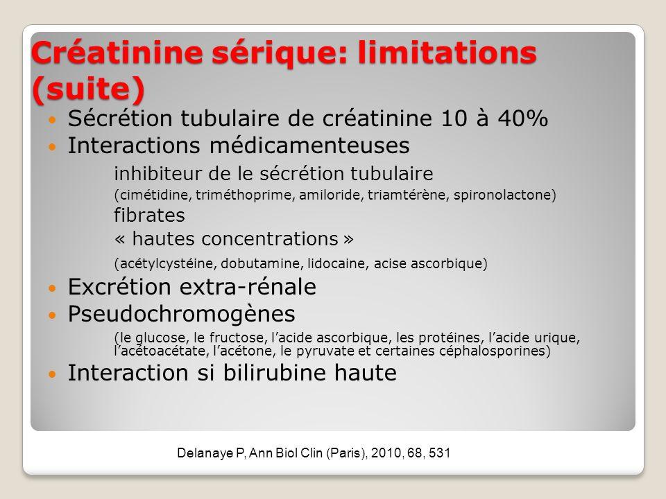 Créatinine sérique: limitations (suite) Sécrétion tubulaire de créatinine 10 à 40% Interactions médicamenteuses inhibiteur de le sécrétion tubulaire (cimétidine, triméthoprime, amiloride, triamtérène, spironolactone) fibrates « hautes concentrations » (acétylcystéine, dobutamine, lidocaine, acise ascorbique) Excrétion extra-rénale Pseudochromogènes (le glucose, le fructose, lacide ascorbique, les protéines, lacide urique, lacétoacétate, lacétone, le pyruvate et certaines céphalosporines) Interaction si bilirubine haute Delanaye P, Ann Biol Clin (Paris), 2010, 68, 531