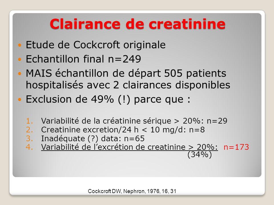 Clairance de creatinine Etude de Cockcroft originale Echantillon final n=249 MAIS échantillon de départ 505 patients hospitalisés avec 2 clairances disponibles Exclusion de 49% (!) parce que : 1.Variabilité de la créatinine sérique > 20%: n=29 2.Creatinine excretion/24 h < 10 mg/d: n=8 3.Inadéquate (?) data: n=65 4.Variabilité de lexcrétion de creatinine > 20%: n=173 (34%) Cockcroft DW, Nephron, 1976, 16, 31