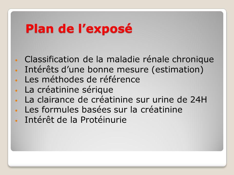 Plan de lexposé Classification de la maladie rénale chronique Intérêts dune bonne mesure (estimation) Les méthodes de référence La créatinine sérique La clairance de créatinine sur urine de 24H Les formules basées sur la créatinine Intérêt de la Protéinurie