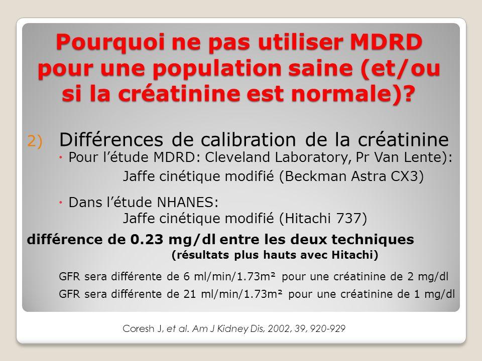 2) Différences de calibration de la créatinine Pour létude MDRD: Cleveland Laboratory, Pr Van Lente): Jaffe cinétique modifié (Beckman Astra CX3) Dans létude NHANES: Jaffe cinétique modifié (Hitachi 737) différence de 0.23 mg/dl entre les deux techniques (résultats plus hauts avec Hitachi) GFR sera différente de 6 ml/min/1.73m² pour une créatinine de 2 mg/dl GFR sera différente de 21 ml/min/1.73m² pour une créatinine de 1 mg/dl Coresh J, et al.