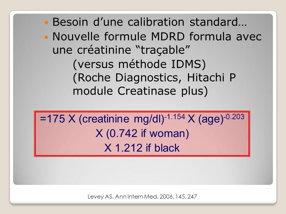 Besoin dune calibration standard… Nouvelle formule MDRD formula avec une créatinine traçable (versus méthode IDMS) (Roche Diagnostics, Hitachi P module Creatinase plus) =175 X (creatinine mg/dl) -1.154 X (age) -0.203 X (0.742 if woman) X 1.212 if black Levey AS, Ann Intern Med, 2006, 145, 247